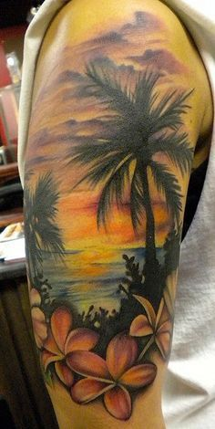 Palm Tree and plumerias.. Hawaiian sunset Tattoos Flowers Tattoo, Tattoo Ideas, Palms Trees, Palm Trees, Beach Theme, Half Sleeve Tattoo, Beach Sleeve Tattoo, Tropical Tattoo, Beach Tattoos