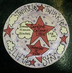 .Twinkle Twinkle Little Star Birth Plate