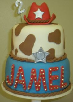 Jamel's Cowboy Cake - This was the topper cake on the cupcake tree I made for my godson's 2nd birthday.  Everything is edible.  (including the RKT cowboy hat)