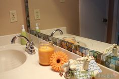 Makeover your bathroom mirror with Hobby Lobby glass tiles & hot glue. Total cost only $15!