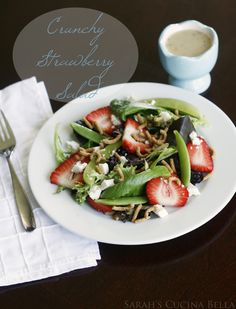 Crunchy Strawberry Salad with sweet berries, sharp blue cheese and crisp sugar snap peas ... as well as a special crunchy ingredient.