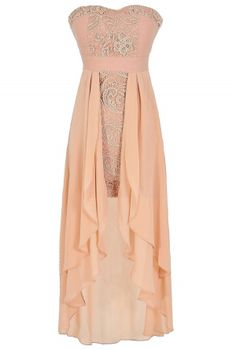 short, high low dresses, peach