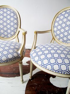 vintage pair of chairs in Amanda Nisbet's Chip textile in Blueberry on Oatmeal from @Co-Lab