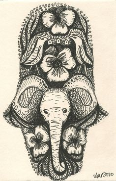 Hamsa for good luck and protection in Middle Eastern countries Elephant for strength and wisdom. tattoo ideas.???
