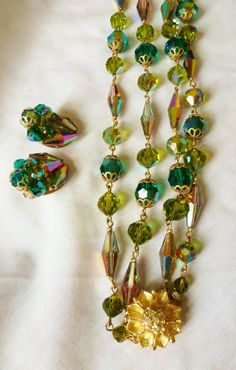 Vintage Vendome Green Ab Multi Faceted Crystals by vintagelady7, $49.99