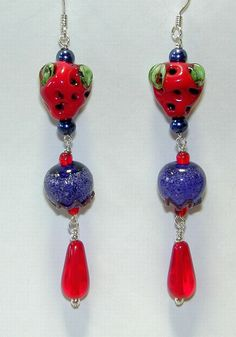 Red Hat Society Blueberry Strawberry Handmade Artisan Bead Earrings