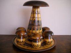 Eastern European Polish Folk Art  Pyrography Wooden Mushroom Set