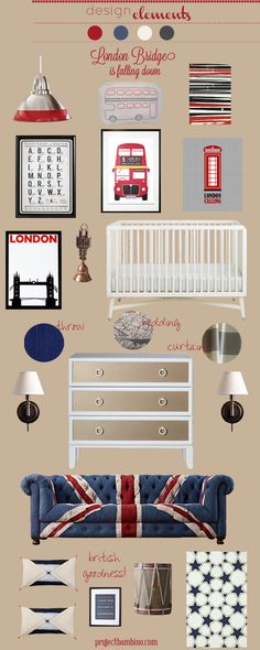 red and navy British themed #nursery