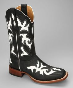 Take a look at this Black & White Leather C-Toe Western Boot - Women by Johnny Ringo Boots on #zulily today!