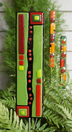Christmas Ornament - Home Decor - Garden Art  - Fused Glass - Black Green Red Art Stake