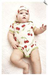 Bedhead Ivory Cherry Pick Baby Onsie and Hat PJ