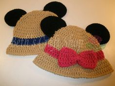 Disney Minnie & Mickey Mouse Safari Hat - Crochet Hat