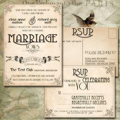 USE THESE!  PRINTABLE INVITATIONS Vintage Wedding diy to print - Lafayette Suite (invitation and rsvp postcard). $25.00, via Etsy.