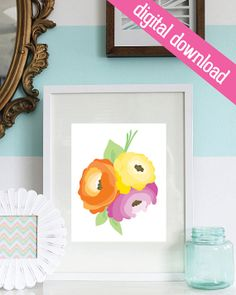 8 x 10 Hand Drawn Floral Printable Digital by LivyLoveDesigns, $5.00