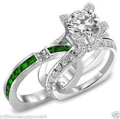 2.75 CT UNIQUE ENGAGEMENT RING BRIDAL SET ROUND DIAMOND & EMERALD BAND