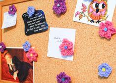 crochet flower cork board