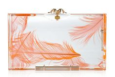 Clear Transparent Lucite DIY Clutches with billowy orange feathers