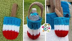 Summertime Snack Bag - Because of the small size of this particular crochet bag pattern, it can only be used to hold small items such as water bottles, sunglasses, and cell phones, but it's super cute!