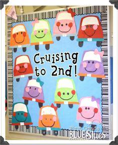 First Grade Blue Skies: Cruisin' to Summer! End of the Year Bulletin Board Craftivity school, bulletin board, door, cruis
