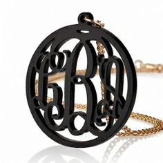 Gold Plated Chain Circle Acrylic Monogram Necklace $24.95