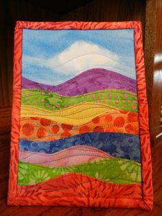 """Landscape Batik Art Quilt, displays on 5 x 7"""" easel frame. $15.00, via Etsy."""