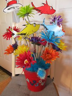 Cutouts used in a Dr. Suess centerpiece