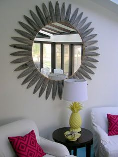 Mirror made from old picket fence.