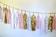 Dots for Days Pinks Sparkle & Shine Tissue Tassel Garland
