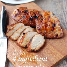 the best 4 ingredient chicken marinade – The recipe for the best chicken marinade. Only 4 ingredients! #chickenmarinade #grilledchickenmarinade #whattodowithhardbrownsugar