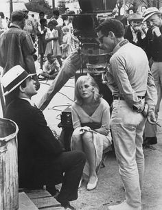 "Director Arthur Penn discusses a scene with Faye Dunaway and Warren Beatty, ""Bonnie and Clyde"", 1967"