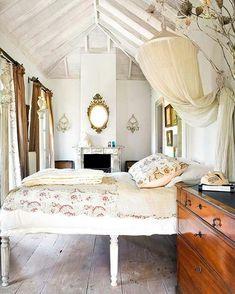 bleached wood plank floor.  Beach Cottage bedroom