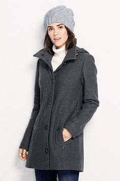 Women's Boiled Wool Hooded Parka from Lands' End