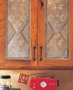 Pressed tin southwestern cabinets | Stylish Western Home Decorating
