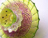 Glass Garden Flower Sculpture, Large, Hand Painted,Suncatcher, Upcycled, Garden Art, Dotty Flowers,