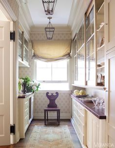 Butler's Pantry, wood floors, wood counters, roman shade...