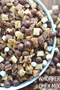 This whopper chex mix is perfect for any large gathering!  Recipe from nelliebellie.com  #dessert #snack #football #chexmix #chocolate