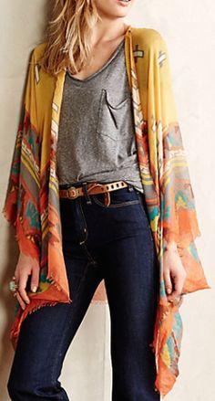 sunlit kimono cardigan. love these colors!