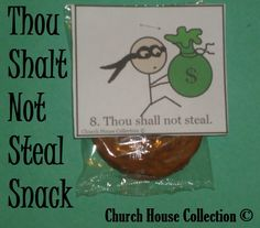 Church House Collection Blog: Thou Shalt Not Steal Snacks For Kids For Ten Commandments- Theif Burglar Stealing Money Bag Snacks