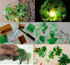 Folhas de garrafas pet, se for montar uma luminária somente com luz fria led
