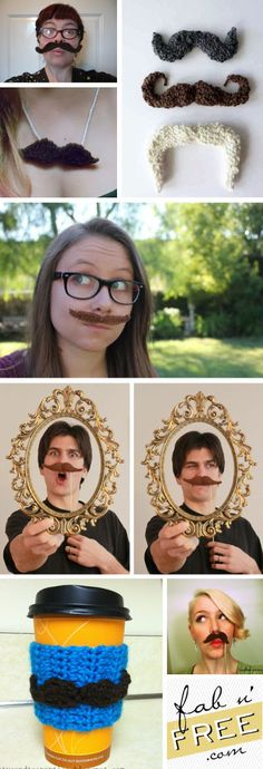 7 Free MUSTACHE Crochet Patterns!  Easy and Fab!