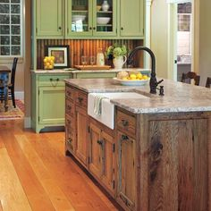 love this old country farm look kitchen - an idea for the forever house/farm. love the green so much.