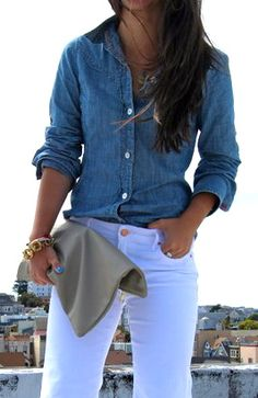 fashion, style, cloth, outfit, denim, beauti, closet obsess, white jeans, chambray