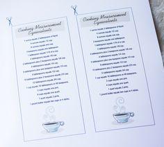 Cooking measurement equivalent printable