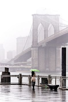 Even in the midst of a foggy April shower the Brooklyn Bridge still looks beautiful