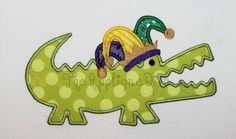 Mardi Gras  Gator Embroidery Design Machine by theappliquediva, $2.99