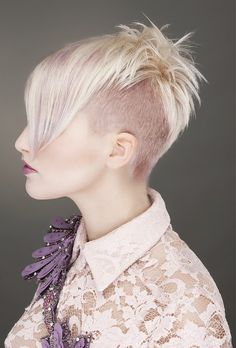 short blonde straight coloured multi-tonal choppy shaved-sides womens haircut side-view