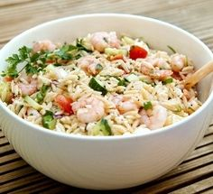 Orzo with Grilled Shrimp, Summer Vegetables, and Pesto Vinaigrette | Recipes | PKD Health Notes | PKD Health Notes