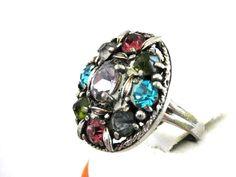 Hollycraft Pastel Ring Vintage Beautiful via Etsy