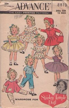 "I need to find a great seastress that can sew all kinds of vintage-style dolly clothes for me!    15"" doll    Shirley Temple doll: wardrobe    c. 1959"