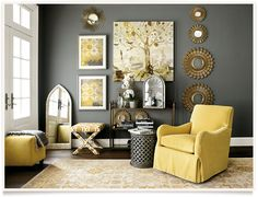 "Ballard Designs grey and yellow pretty pallette - Home Accessories Finds For Spring -  from Karen Davis Design ""The Adventures of Marker Girl"""